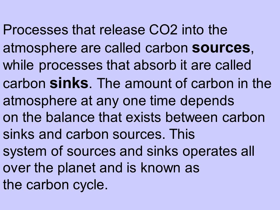 Processes that release CO2 into the atmosphere are called carbon sources, while processes that absorb it are called carbon sinks. The amount of carbon in the atmosphere at any one time depends