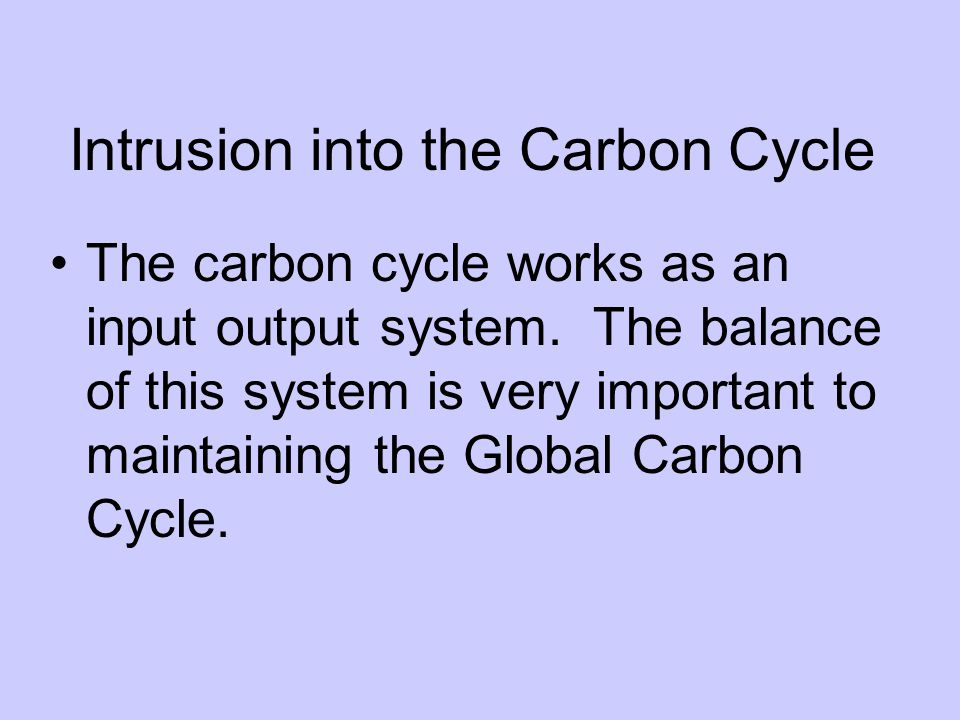 Intrusion into the Carbon Cycle