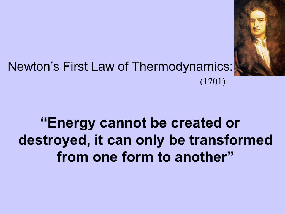 Newton's First Law of Thermodynamics: