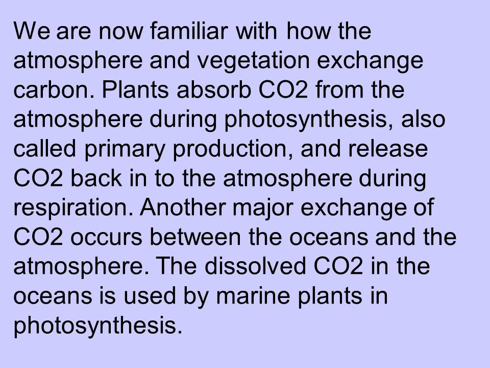 We are now familiar with how the atmosphere and vegetation exchange carbon.