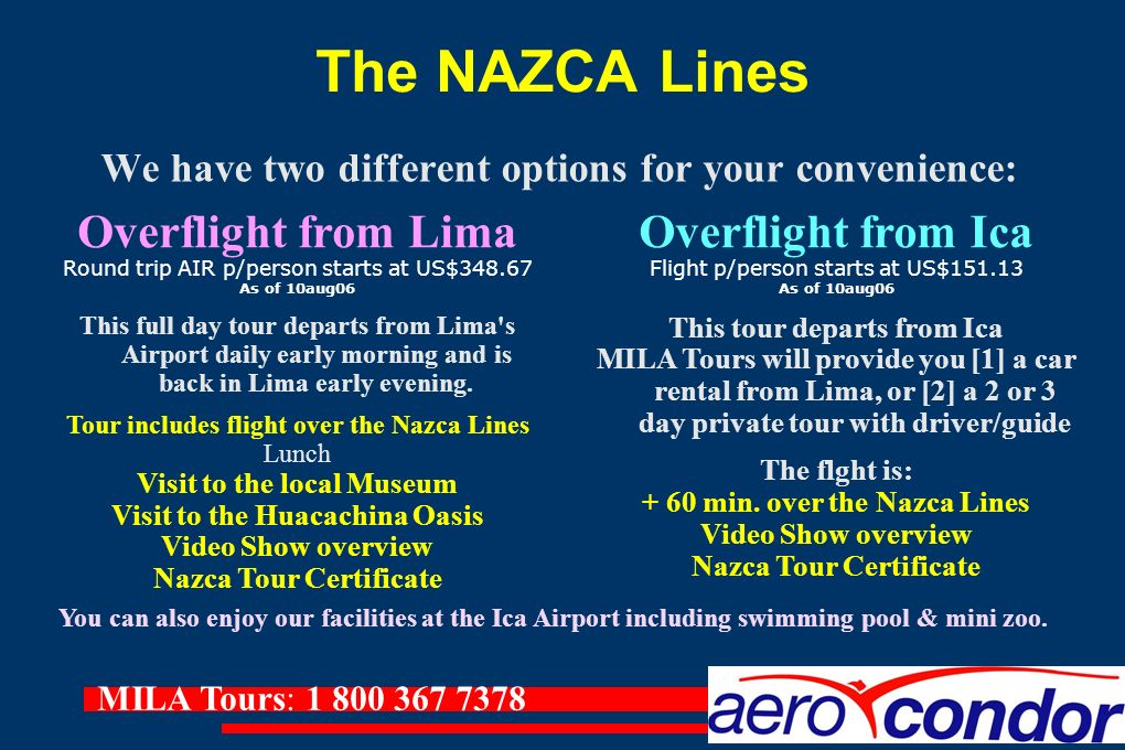 The NAZCA Lines Overflight from Lima Overflight from Ica