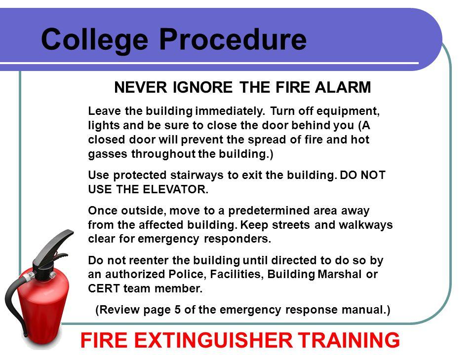 College Procedure FIRE EXTINGUISHER TRAINING