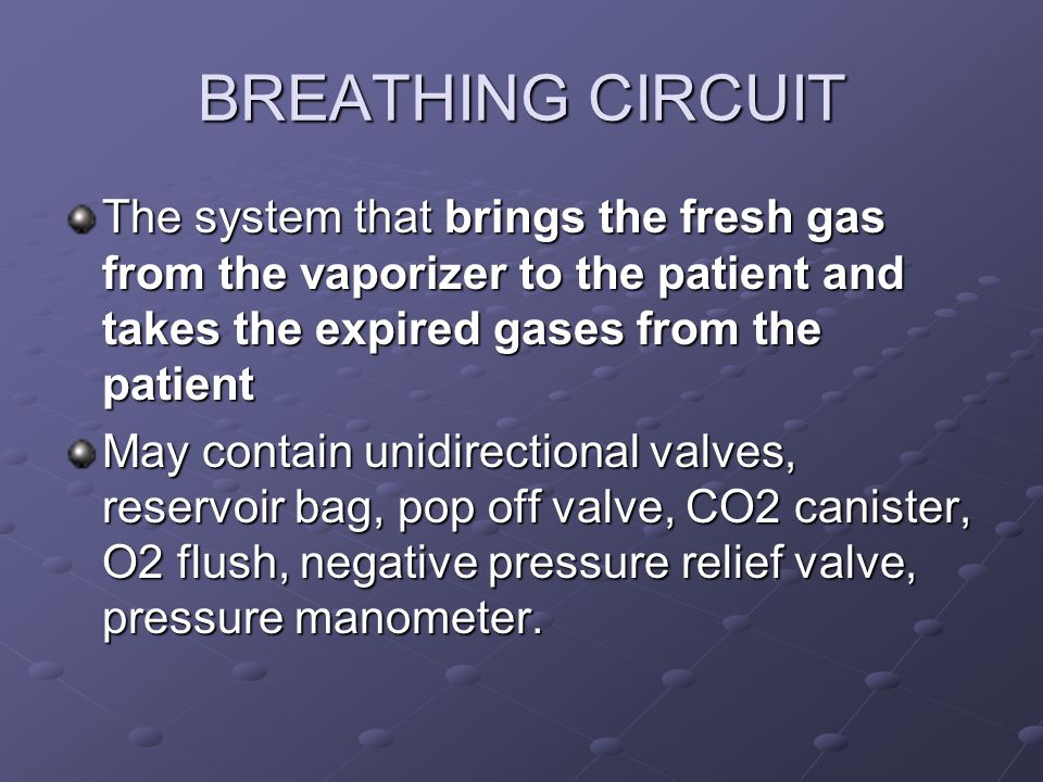 BREATHING CIRCUIT The system that brings the fresh gas from the vaporizer to the patient and takes the expired gases from the patient.