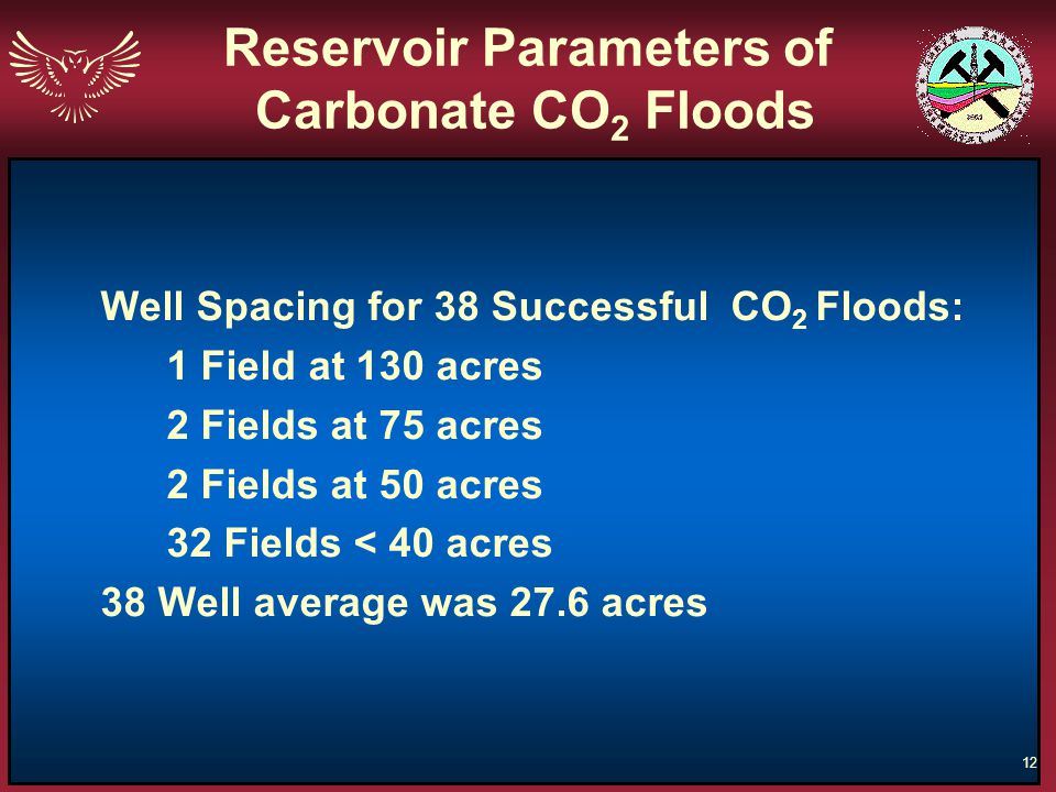 Reservoir Parameters of Carbonate CO2 Floods
