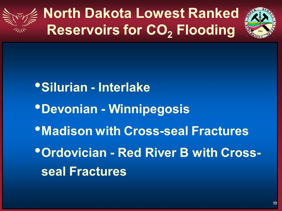 North Dakota Lowest Ranked Reservoirs for CO2 Flooding