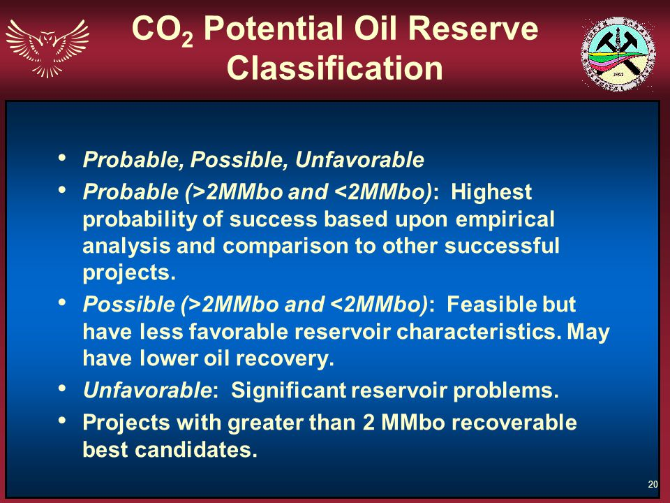CO2 Potential Oil Reserve Classification
