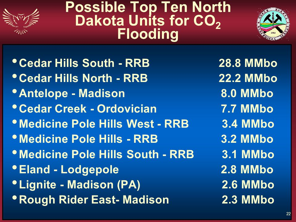 Possible Top Ten North Dakota Units for CO2 Flooding