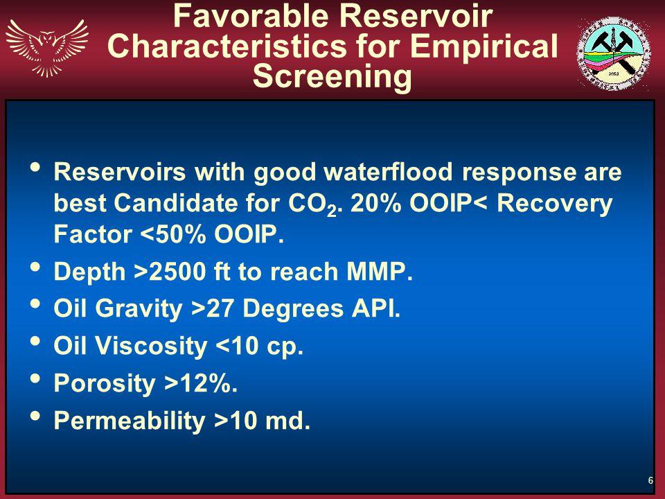 Favorable Reservoir Characteristics for Empirical Screening