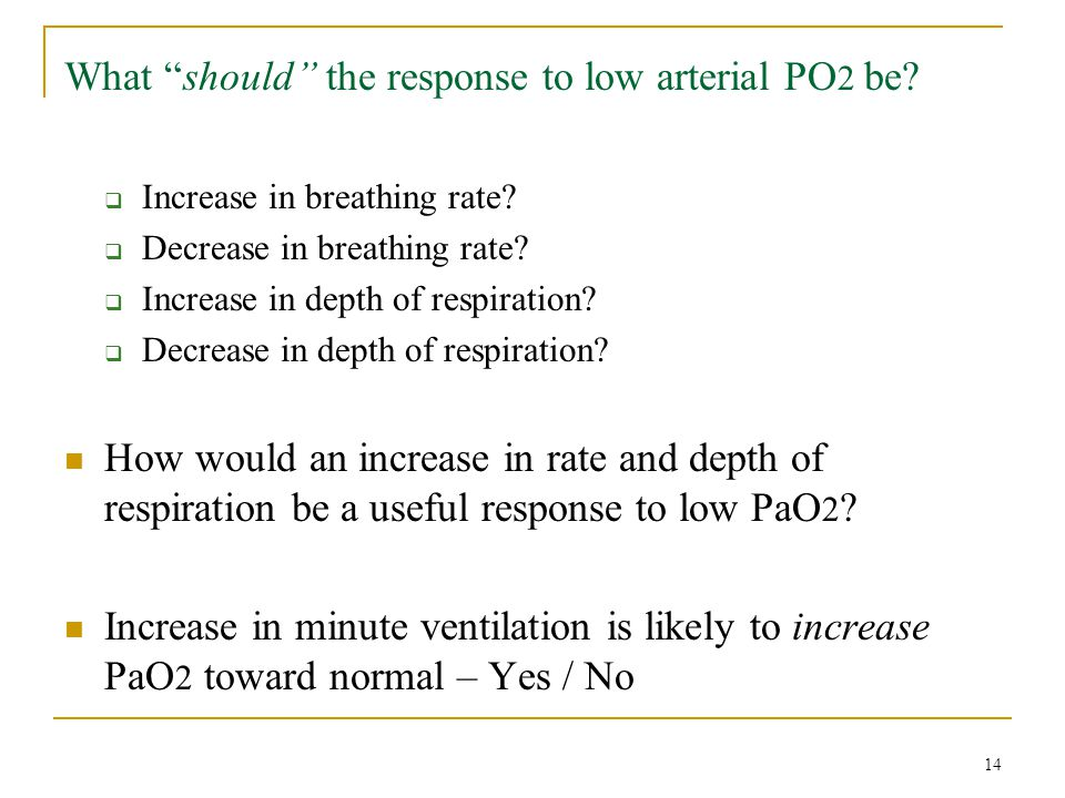 What should the response to low arterial PO2 be
