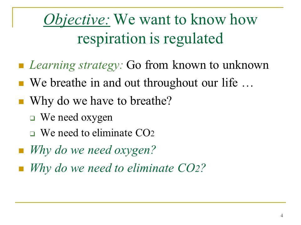 Objective: We want to know how respiration is regulated