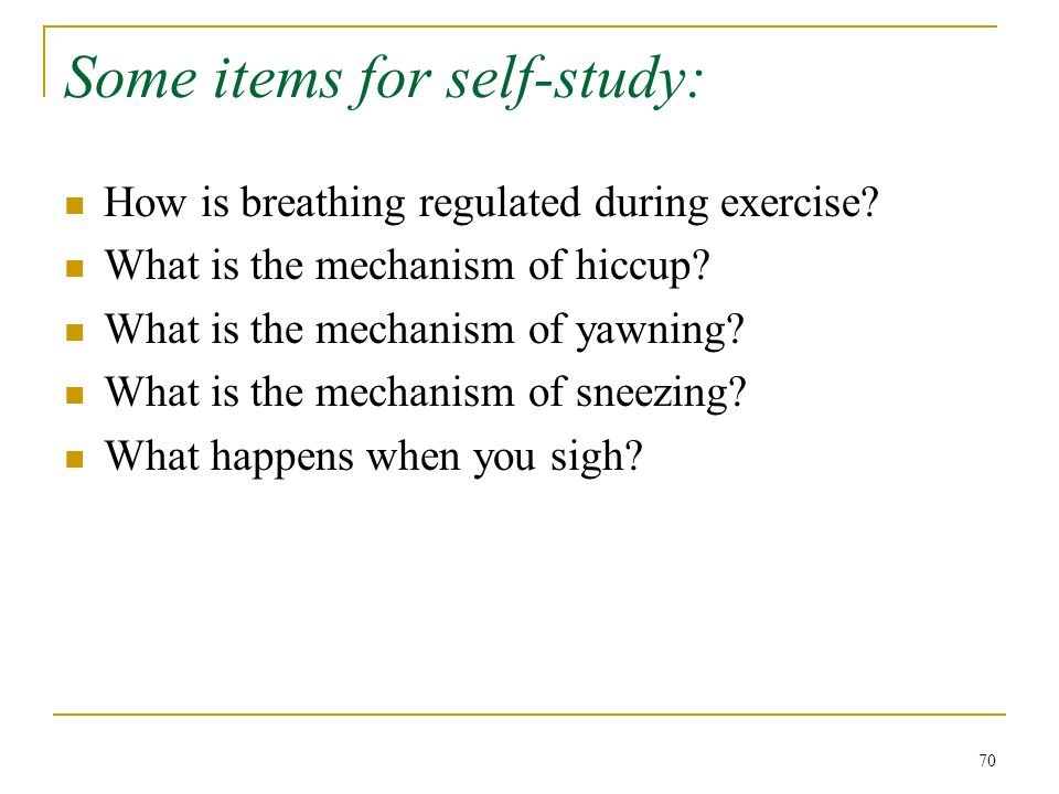 Some items for self-study: