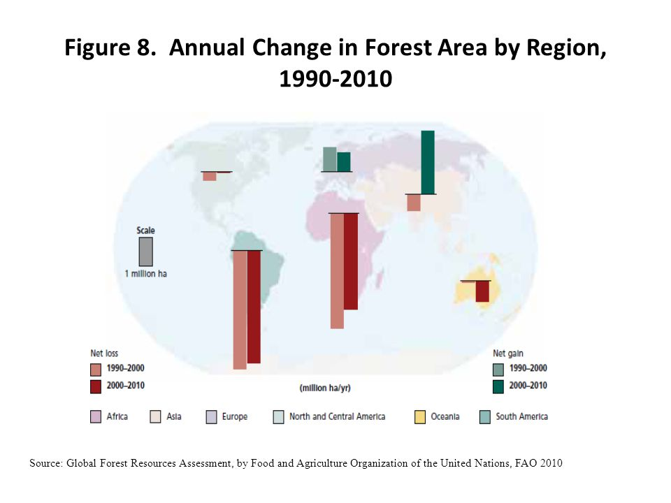 Figure 8. Annual Change in Forest Area by Region, 1990-2010