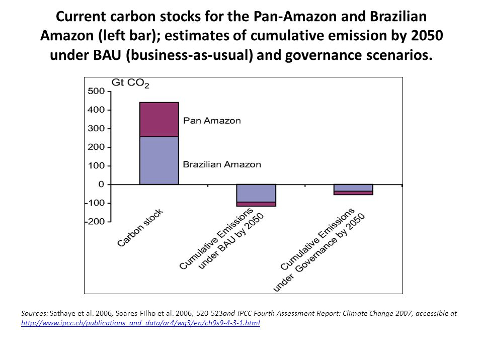 Current carbon stocks for the Pan-Amazon and Brazilian Amazon (left bar); estimates of cumulative emission by 2050 under BAU (business-as-usual) and governance scenarios.