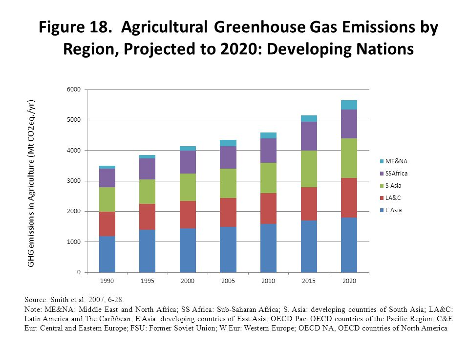 Figure 18. Agricultural Greenhouse Gas Emissions by Region, Projected to 2020: Developing Nations