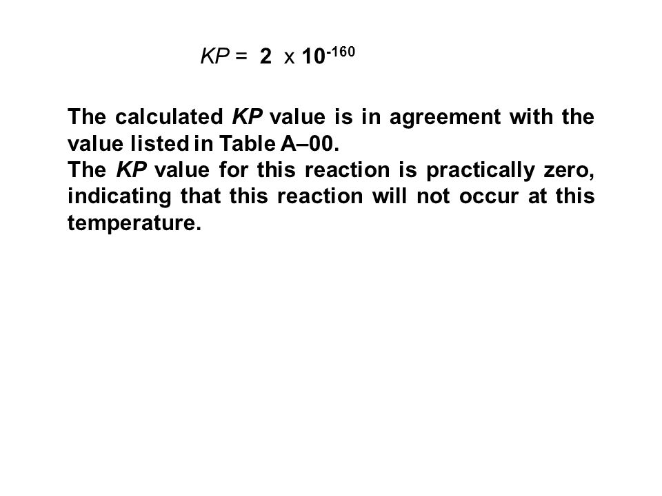 KP = 2 x 10-160 The calculated KP value is in agreement with the value listed in Table A–00.
