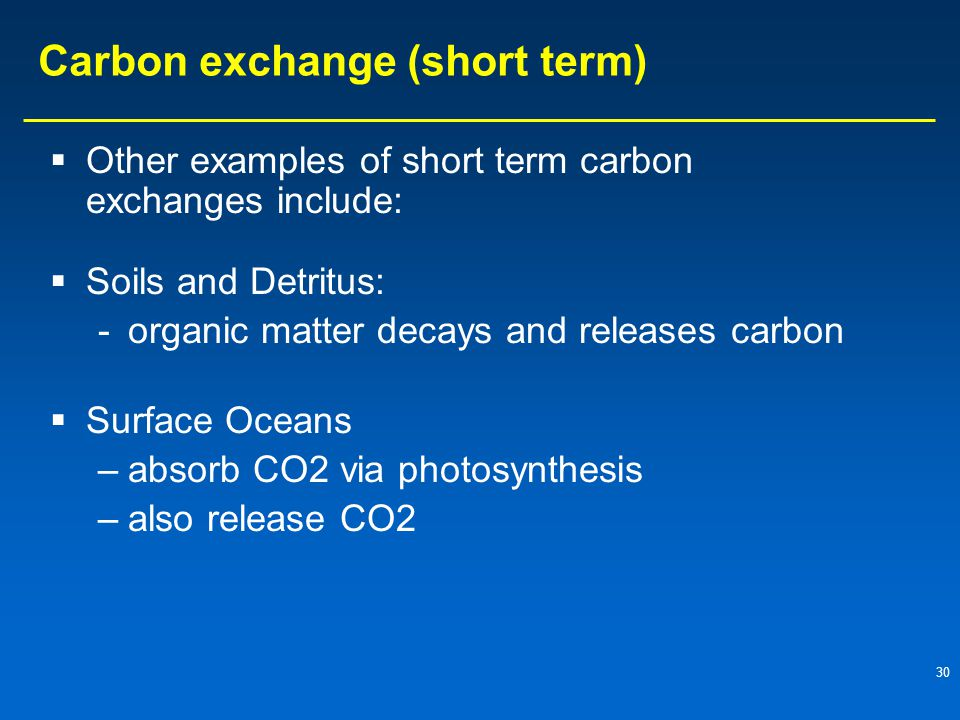 Carbon exchange (short term)