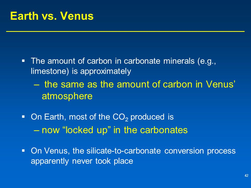 Earth vs. Venus the same as the amount of carbon in Venus' atmosphere