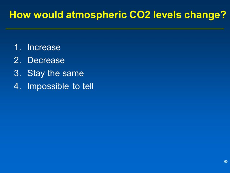 How would atmospheric CO2 levels change