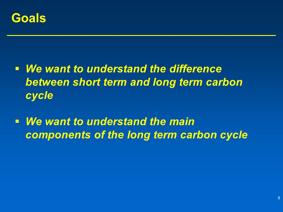 Goals We want to understand the difference between short term and long term carbon cycle.