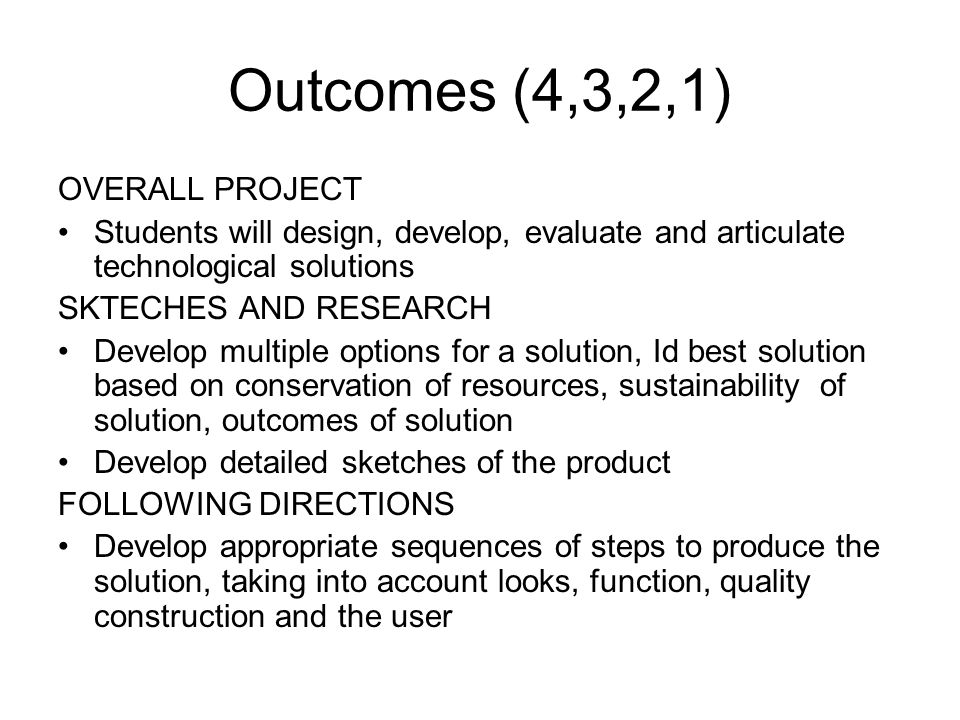 Outcomes (4,3,2,1) OVERALL PROJECT