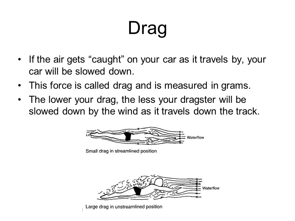Drag If the air gets caught on your car as it travels by, your car will be slowed down. This force is called drag and is measured in grams.