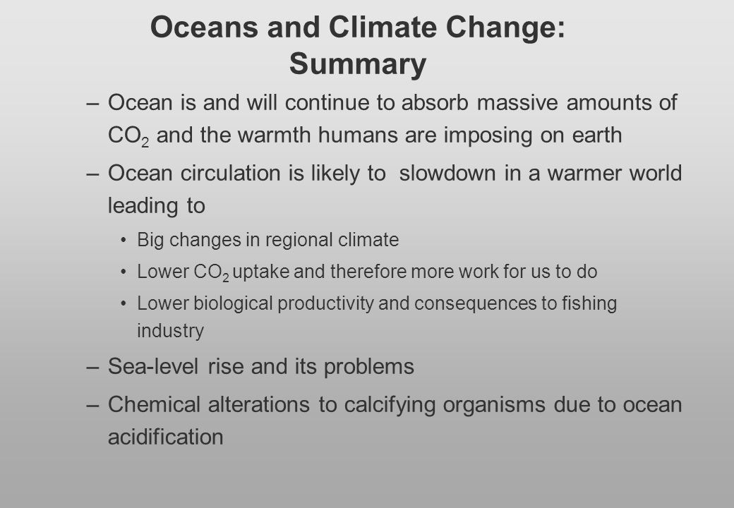 Oceans and Climate Change: Summary