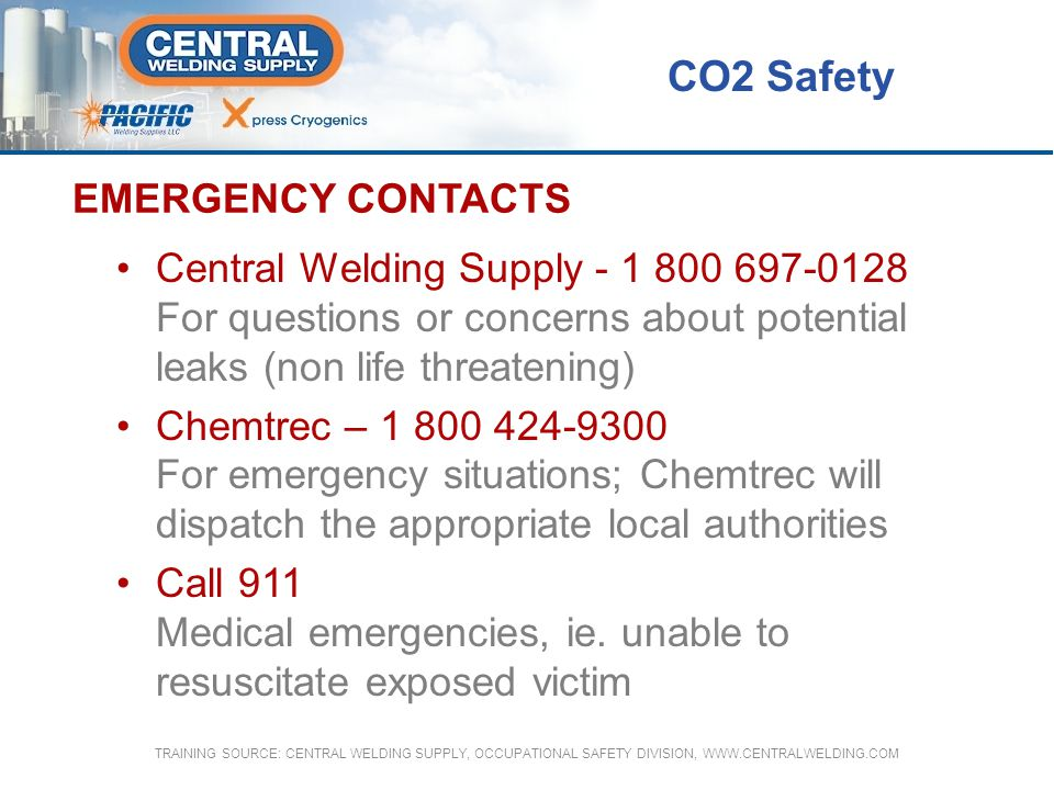 CO2 Safety EMERGENCY CONTACTS