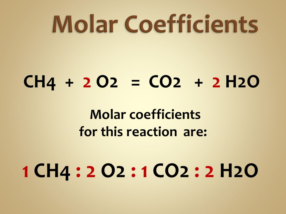 Molar Coefficients CH4 + 2 O2 = CO2 + 2 H2O for this reaction are: