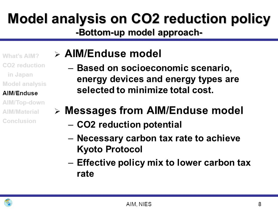 Model analysis on CO2 reduction policy -Bottom-up model approach-
