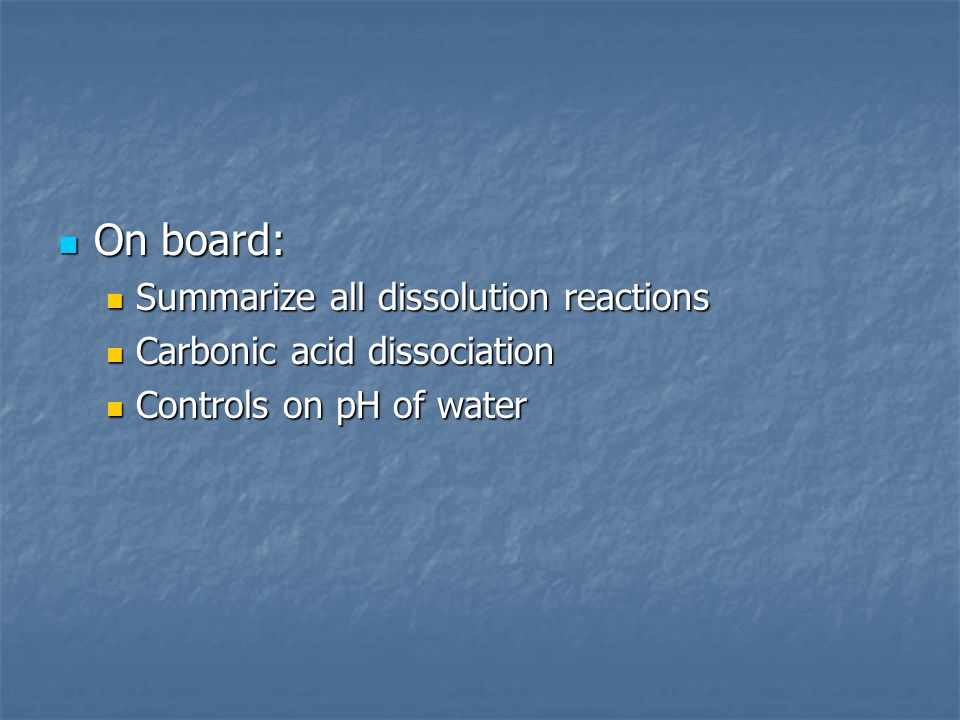 On board: Summarize all dissolution reactions
