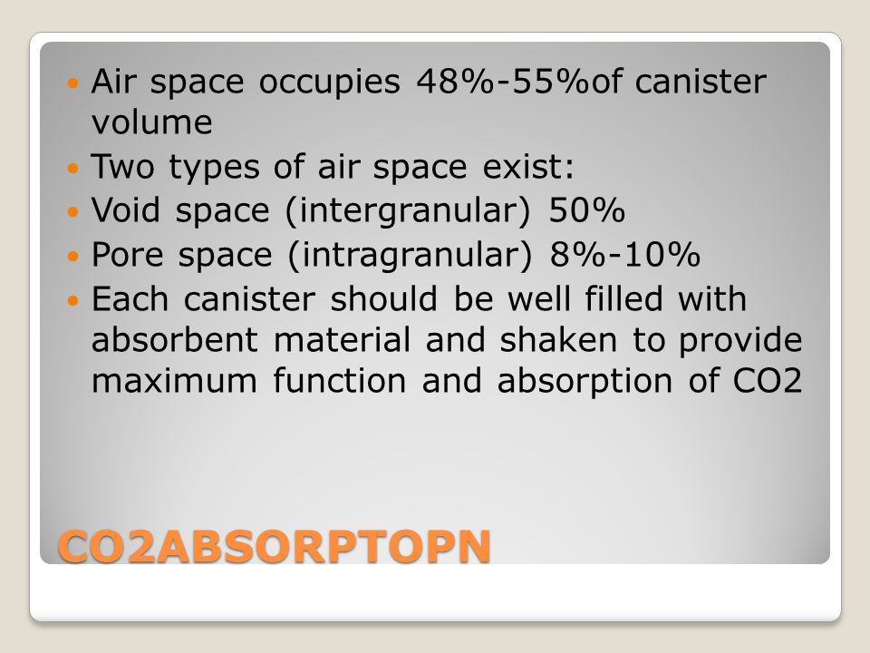 CO2ABSORPTOPN Air space occupies 48%-55%of canister volume