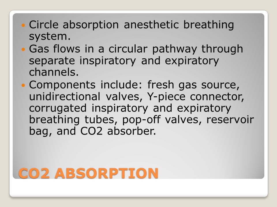 CO2 ABSORPTION Circle absorption anesthetic breathing system.