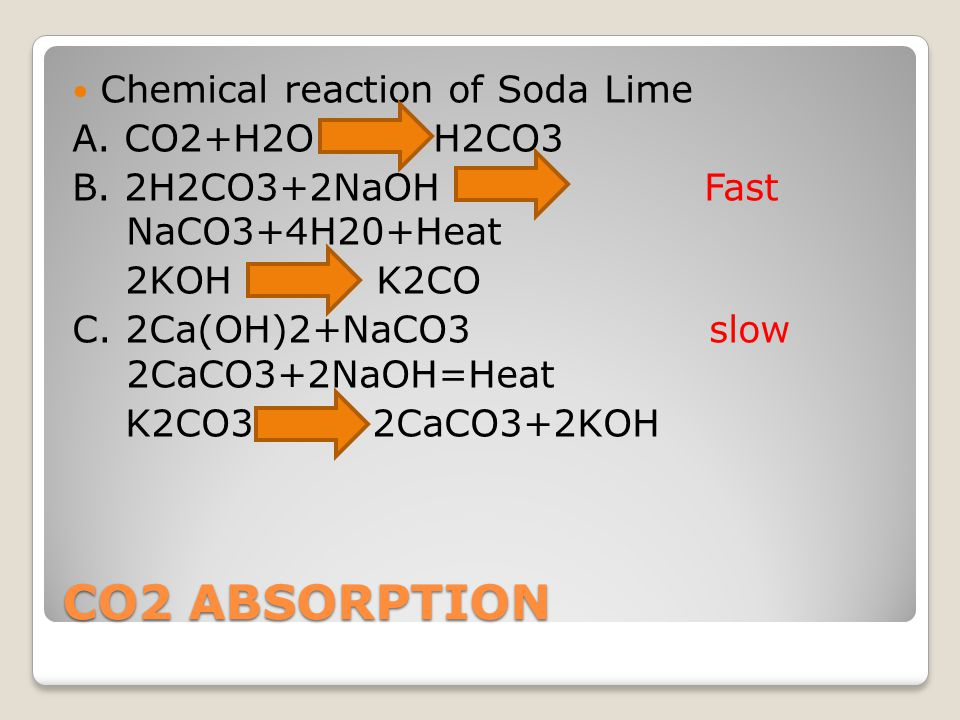 CO2 ABSORPTION Chemical reaction of Soda Lime A. CO2+H2O H2CO3