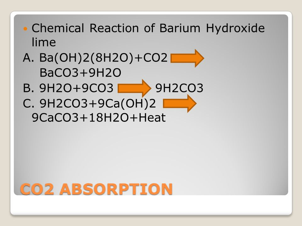 CO2 ABSORPTION Chemical Reaction of Barium Hydroxide lime