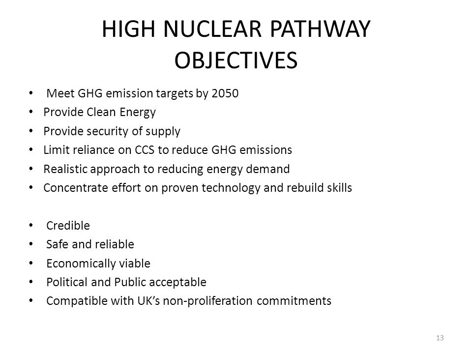 HIGH NUCLEAR PATHWAY OBJECTIVES