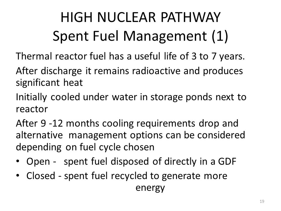HIGH NUCLEAR PATHWAY Spent Fuel Management (1)