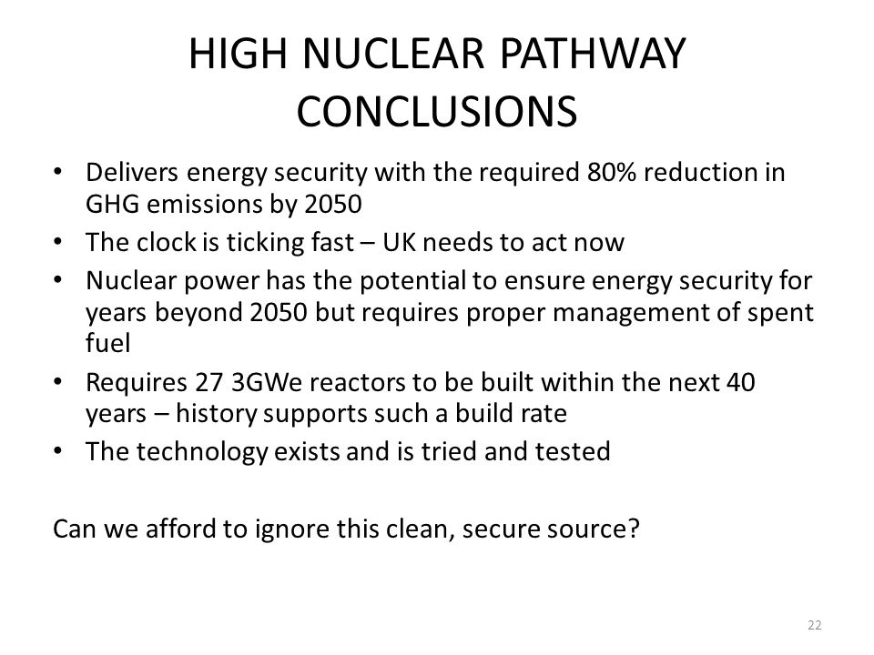 HIGH NUCLEAR PATHWAY CONCLUSIONS