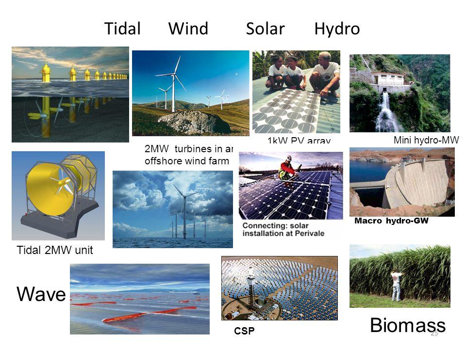 Wave Biomass Tidal Wind Solar Hydro Tidal 2MW unit 1kW PV array