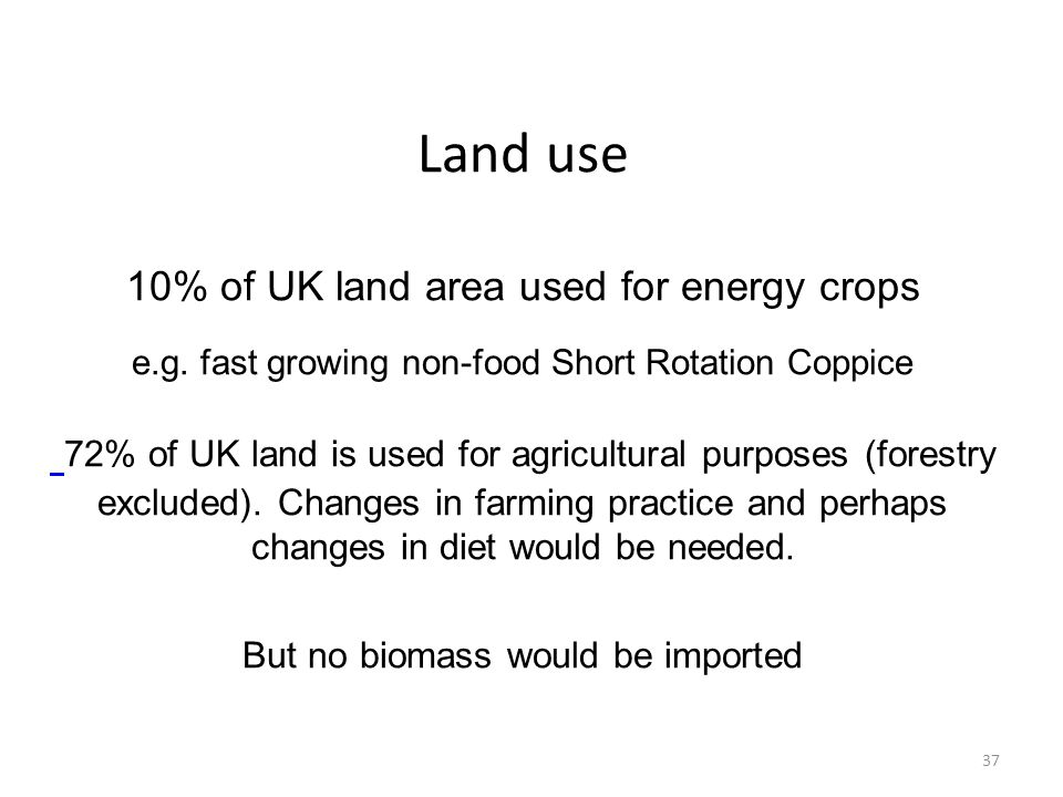 Land use 10% of UK land area used for energy crops e. g