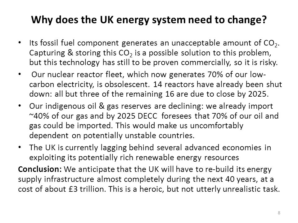 Why does the UK energy system need to change