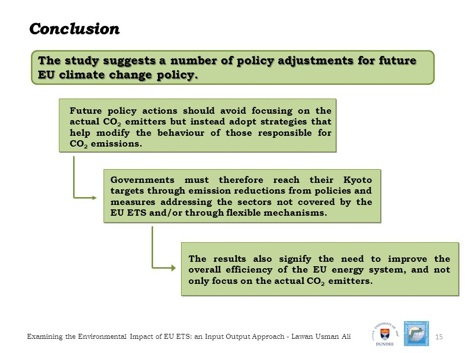Conclusion The study suggests a number of policy adjustments for future EU climate change policy.