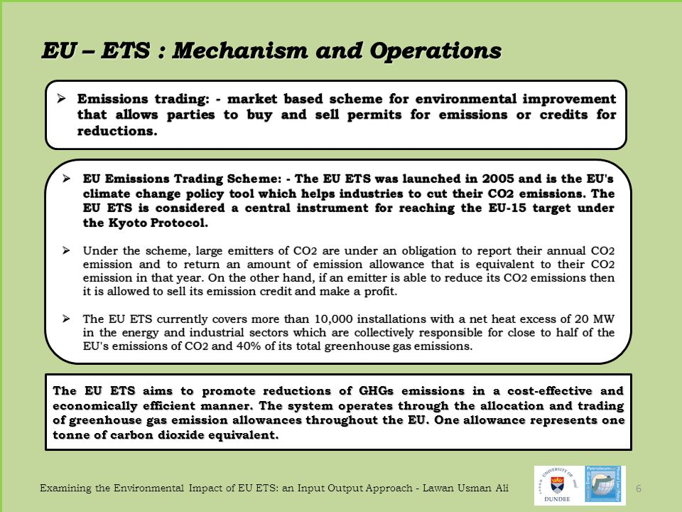 EU – ETS : Mechanism and Operations