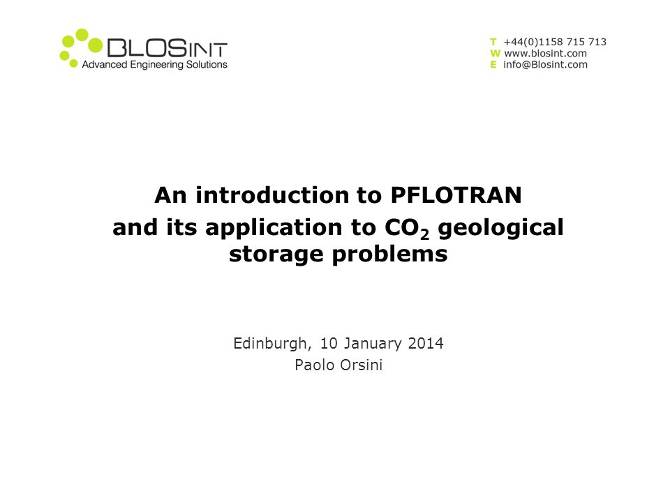 An introduction to PFLOTRAN