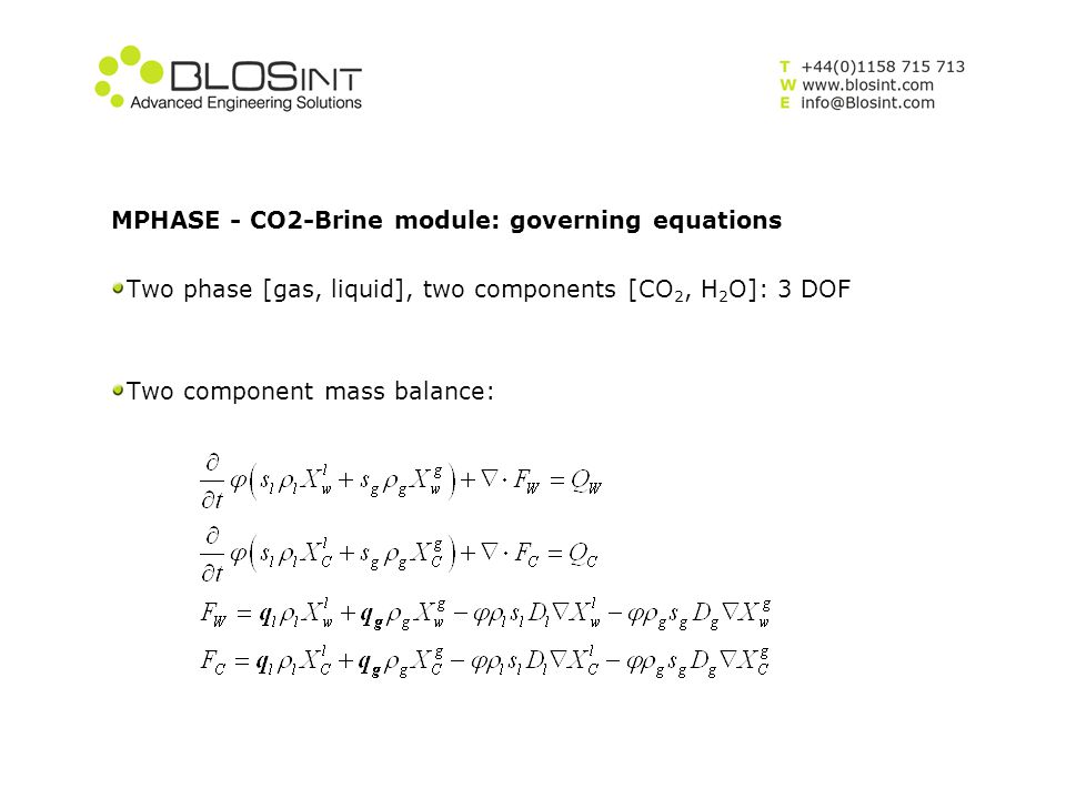 MPHASE - CO2-Brine module: governing equations