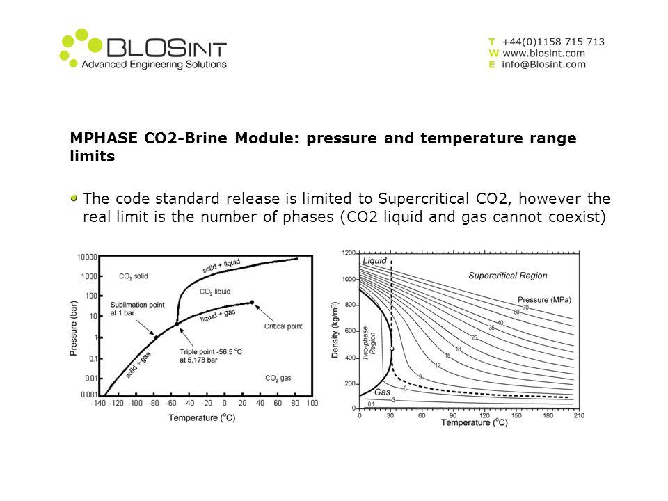 MPHASE CO2-Brine Module: pressure and temperature range limits