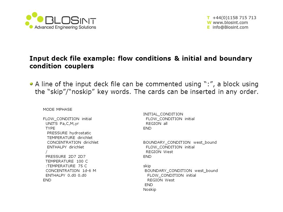 Input deck file example: flow conditions & initial and boundary condition couplers