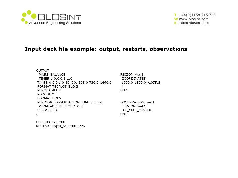 Input deck file example: output, restarts, observations