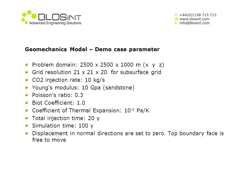 Geomechanics Model – Demo case parameter