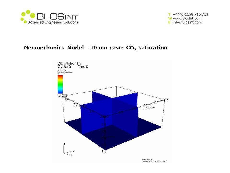 Geomechanics Model – Demo case: CO2 saturation