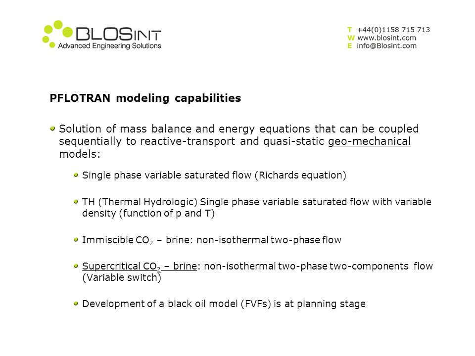 PFLOTRAN modeling capabilities
